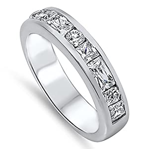 Economical and Attractive Womens Sterling Silver Eternity Ring - Size 06