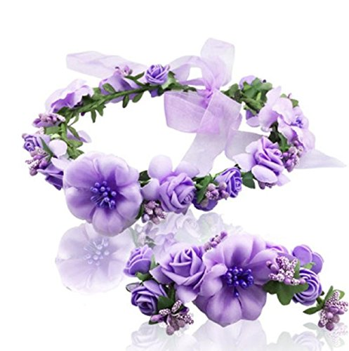 Vovotrade Wedding Hair Accessories Wrist Flower Garland Seaside Holiday Pictures (Purple)