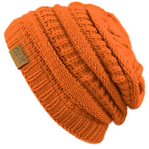 the-hat-depot-exclusive-unisex-solid-soft-stretch-cable-knit-beanie-skull-cap-orange