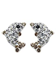 1.00 Grams Black, White & Yellow Crystal .925 Sterling Silver Earrings