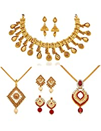 Apara LCT Studded Necklace And Pendant Set Combo With Austrian Diamond For Women