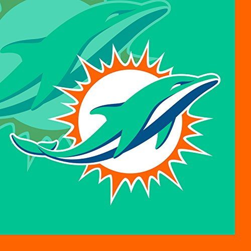 Creative Converting 16 Count Miami Dolphins Beverage Napkins