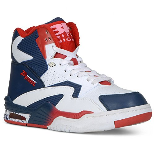British Knights Men's Hightop Sneaker, White/Deep Indigo/Mars Red, 9.5 M US