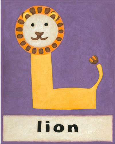 Green Frog Art Wall Decor, L is for Lion - 1