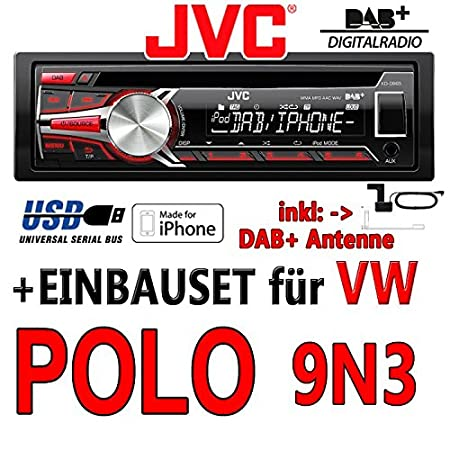 Volkswagen polo 9N3 jVC-kD-dB65-dAB autoradio cD/mP3/uSB avec dAB et antenne