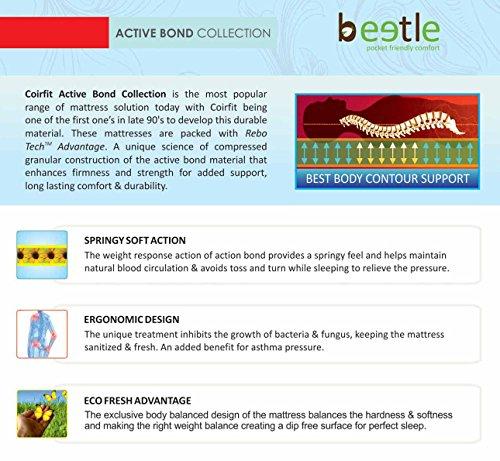 Coirfit Beetle 4-inch Double Size Coir Mattress (Multicolour, 72x48x4)