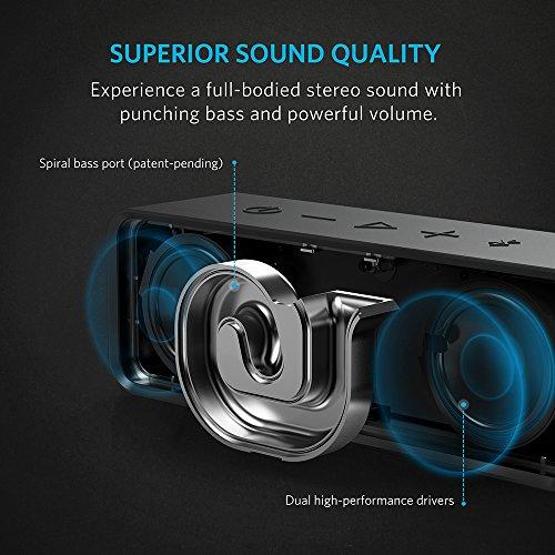 Anker SoundCore ポータブル Bluetooth4.0 スピーカー 24時間連続再生可能 【デュアルドライバー / ワイヤレススピーカー / 内蔵マイク搭載】 (ブラック)