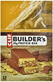 Clif Bar Builders Bar, Chocolate Peanut Butter, 2.4-Ounce Bars, 12 Count