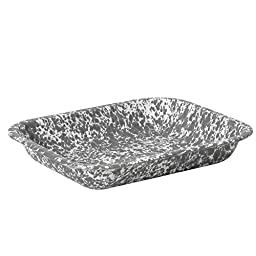 Enamelware Small Roasting Pan - Grey Marble