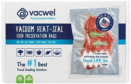 Vacwel Vacuum Sealer Bags for Food, USA, 8x12inch Quart FoodSaver Bags for Sous Vide and Freezer Storage Preservation, 64x Commercial Grade Clear Bags, Embossed for Seamless Vacstrip Seal (Food Preserver Vacuum compare prices)