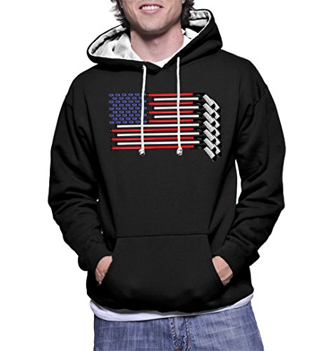 HAASE UNLIMITED Mens American Flag Made with Hockey Sticks and Puck Two Tone Hoodie Sweatshirt (XL, BLACK / WHITE STRING) (American Made Mens Sweaters compare prices)