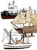 Playtastic-Schiff-Bausatz-aus-Holz-3er-Set-Kutter-Flagg-Schlepper