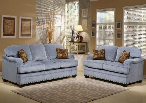 Buy Low Price Benchley 2pc Sofa Loveseat Set with Nail Head Trim in Wedgewood Color (VF_BCL-KYLE)
