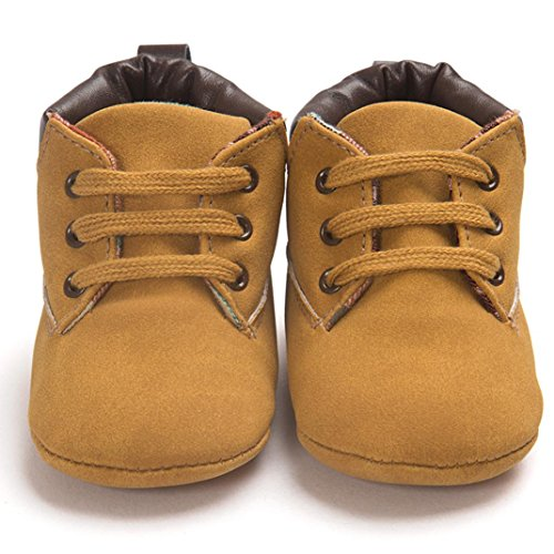 Perman Baby Toddler Soft Sole PU Leather Flats Crib Boots Infant Boy Girl Shoes (13cm/12-18M, Khaki) (Baby Shoes For Boys compare prices)