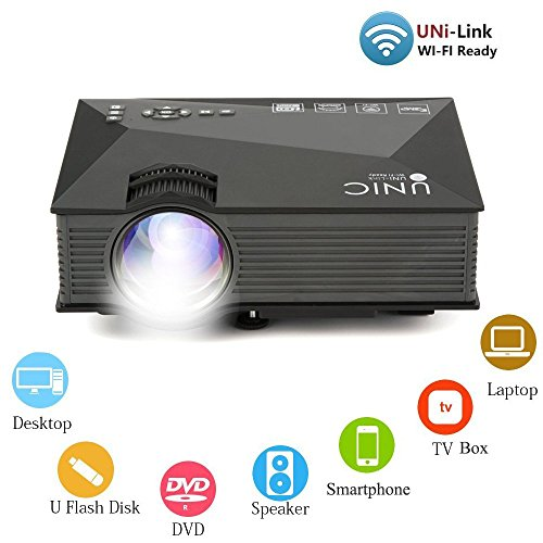 Mini Projector UC46 Portable Multimedia Home Cinema Theater 1200 Lumens LED Projection with USB VGA HDMI SD Card AV WiFi for Party,Home Entertainment,20000 Hours Led Life with Remote