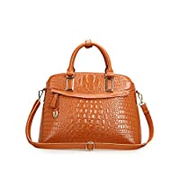 Fineplus Womens Vintage Casual Crocodile Pattern Genuine Leather Tote Bags