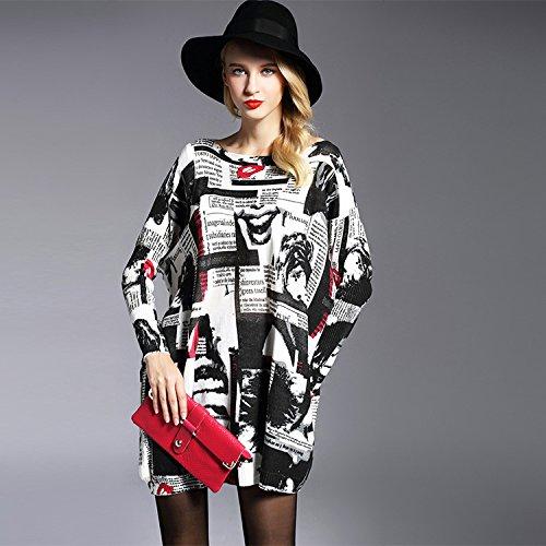GA&GA Manica lunga Ladies' stampato cappotto maglione collo alto lungo , meters white , one-size