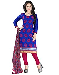 Yehii Latest New Collection Embroidered Low Price Best Sale Offer Blue Chanderi Unstitched Branded Dress Materials With Dupatta for Women's party Wear