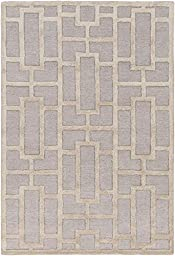 Blue Contemporary Rug 2-foot 3-inch x 10-foot Wool Handmade Geometric Boxes Carpet