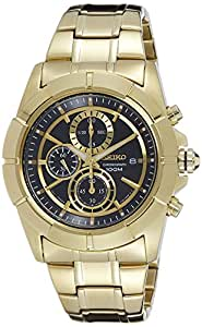 Seiko Chronograph Black Dial Gold tone Men's Watch