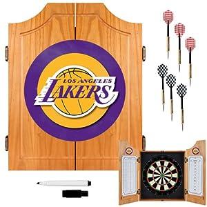 Buy NBA Los Angeles Lakers Wood Dart Cabinet Set by TRADEMARK GAMES