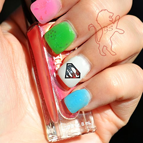 20 Water Slide Nail Decals Spiderman and Superman Symbol