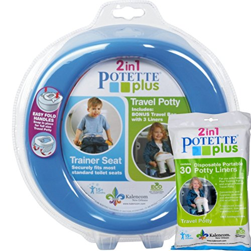 Blue Potette Plus Port-a-potty Training Potty Travel Toilet Seat - 2 in 1 Bundle with Potette Plus Liners - 30 Liners by Kalencom