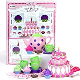 18 Inch Doll Tea Party & Cake Play Food Set, Complete 25 Pc. Doll Accessory Set Perfect for 18 Inch American Girl Dolls & More! Mini Doll Baking Food Set.