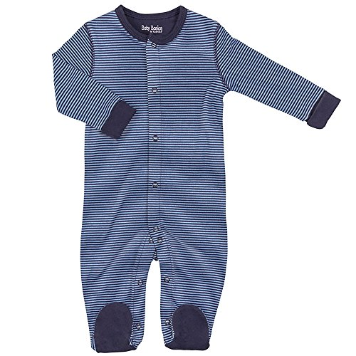 Kushies Cotton Baby Pajamas Blue Striped Baby Boy Footie Footed Outfit 9M