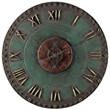 Sterling 128-1004 Metal Roman Numeral Outdoor Wall Clock 24-Inch Marilia Verde with Gold