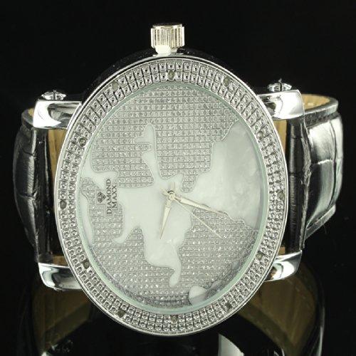 Real Diamond Bezel World Map Elegant Custom Icy 14K Gold Finish Watch Leather