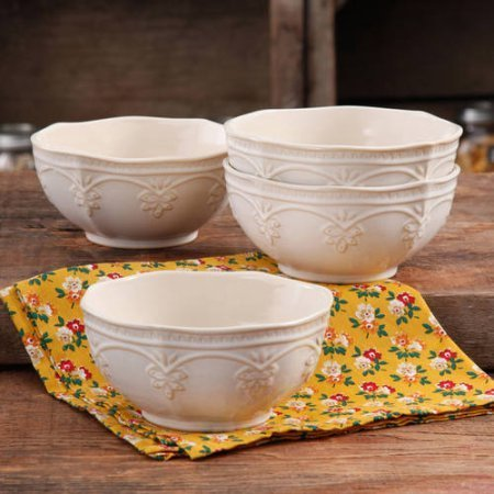 The Pioneer Woman Farmhouse Lace Bowl Set, 4-Pack LINEN | Antique Finish Durable Stoneware Lace Bowl Set, 4-Pack - LINEN