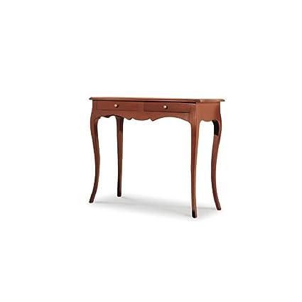 Tavolino con consolle, stile classico, in legno massello e mdf con rifinitura in noce lucido - Mis. 96 x 41 x 80