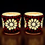 EarthenMetal Handcrafted Glass Shaped White & Oragne Colour Tealight Holder (Candle Light Holder)- Set Of 2