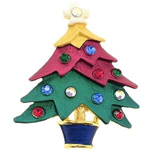 Christmas Tree Pin Swarovski Crystal Christmas Pin Brooch