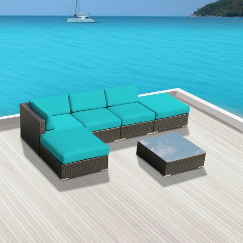 Luxxella Patio Modern Outdoor Wicker Furniture 6-Piece Sectional Sofa Gazebo, Turquoise image