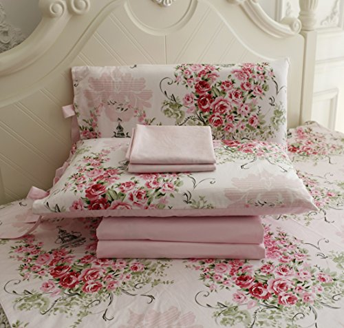 Fadfay 4 Piece Rose Floral Cotton Bed Sheet Set- Twin (Shabby Chic Sheets compare prices)