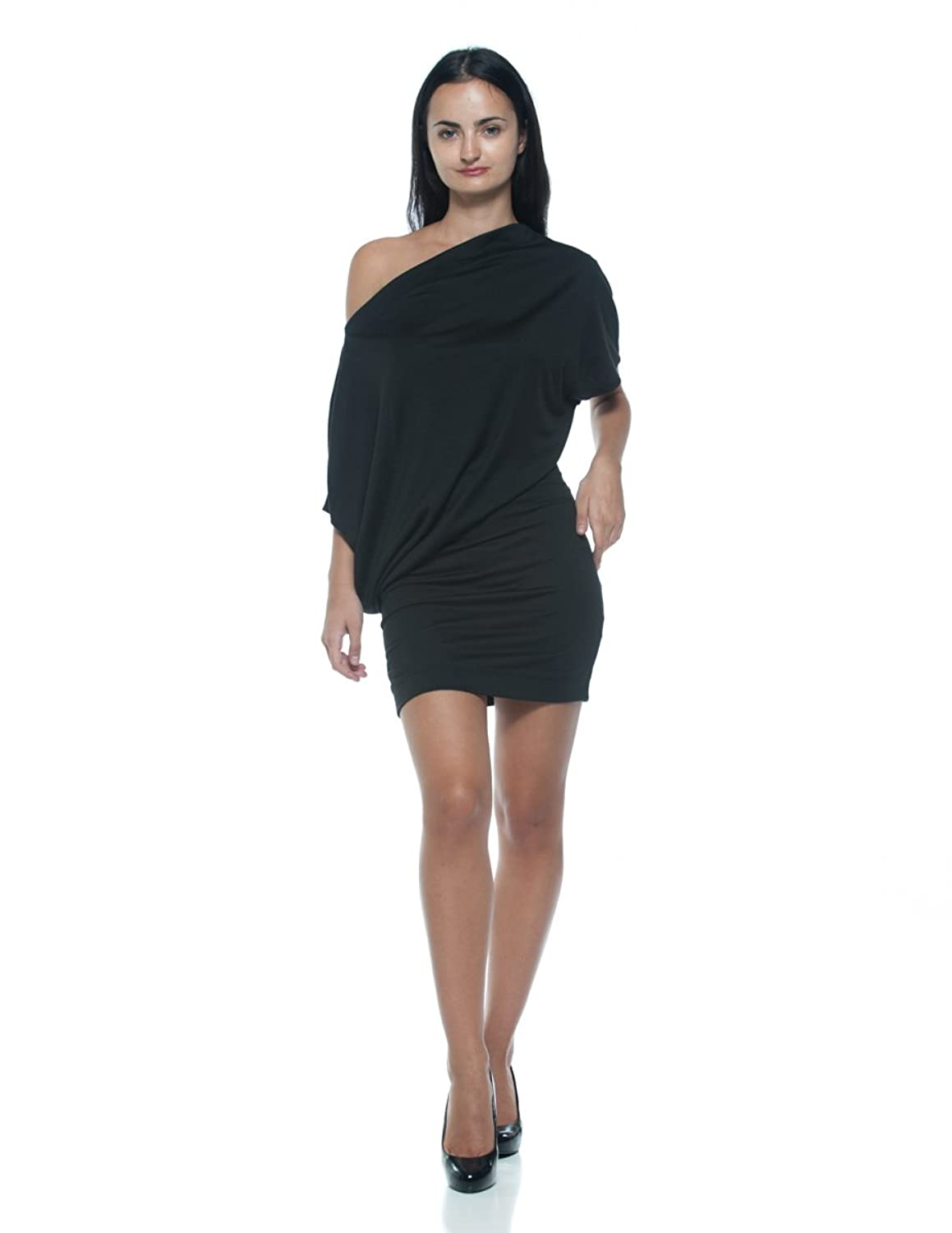 Women's Black Asymmetrical Bateau Boat Neck Modern Off Cold Shoulder Mini Dress
