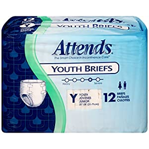 Attends Youth Briefs, 12 Count (Pack of 8)