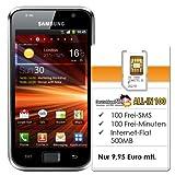 Samsung Galaxy S Plus I9001 (4 Zoll-Display, 5MP Kamera) schwarz + DeutschlandSIM ALL-IN 100 - Ohne Vertragslaufzeit (500MB Daten Flat, 100 Frei-Minuten, 100 Frei-SMS, 9,95 Euro/Monat) o2-Netz