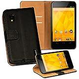 OneFlow PREMIUM - Book-Style Case im Portemonnaie Design mit Stand-Funktion - für LG Google Nexus 4 - SCHWARZ