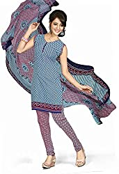 Ethnic For You Crepe Unstitched Salwar Suit Dress Materials(Nevy Blue,Multi)