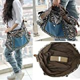 Women Ladies Girls Fashion Retro Hobo Satchel Canvas Tote Messenger Rivet Leather Purse Shoulder Bag Handbag thumbnail