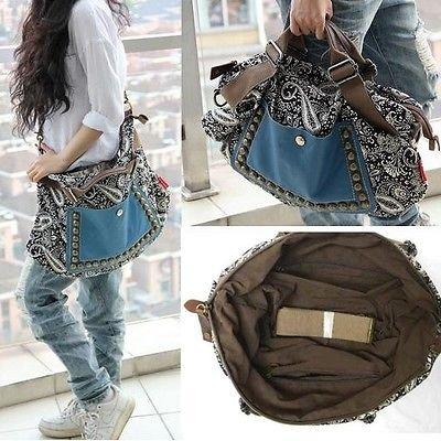 Women Ladies Girls Fashion Retro Hobo Satchel Canvas Tote Messenger Rivet Leather Purse Shoulder Bag Handbag image