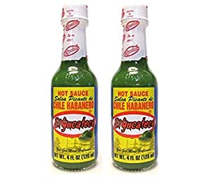 El Yucateco Hot Sauce Salsa Picante de Chile Habanero (Green 4 oz) 2 Pack