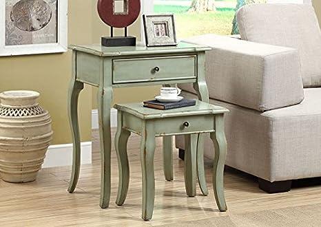 ANTIQUE GREEN VENEER 2PCS NESTING TABLE SET (SIZE: 23L X 15W X 29H)