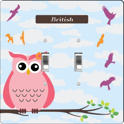 "Rikki Knighttm ""British"" Name - Cute Pink Owl On Branch With Personalized Name Design Double Toggle Light Switch Plate front-645584"