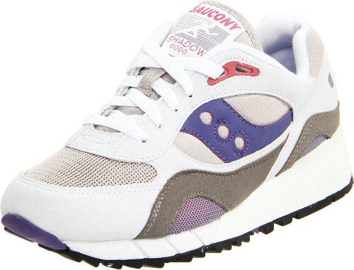Saucony Originals Women s Shadow 6000 Cushion Sneaker White Grey Amethyst 6  5 M 93ae70814