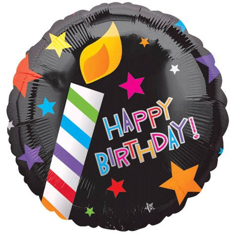 "Candles & Stars Happy Birthday 18"" Mylar Balloon"