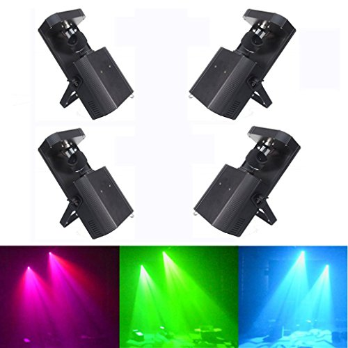 Yiscor Stage Lighting Led Spot Moving Head Light 60W Dmx512 8Gobos 8Colors + White For Xmas Christmas Birthday Home Garden Party Club Disco Effect (Pack Of 4)
